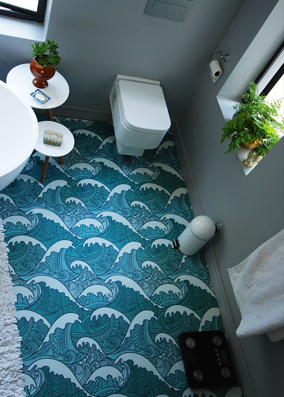 printed bathroom floor